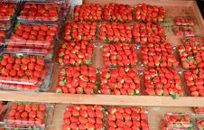 Bright Red Strawberries For Sale At Market Stock Photos
