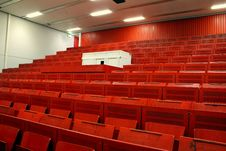 Red Lecture Hall Stock Photo