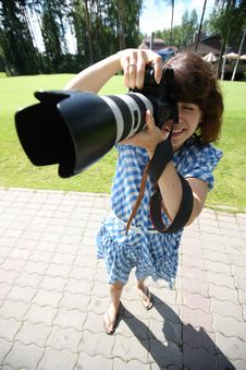 Free Girl With Camera Stock Images - 14671684