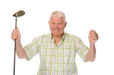 Free Happy Casual Mature Golfer Celebrating Royalty Free Stock Images - 14672039