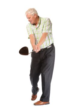 Free Happy Casual Mature Golfer Swinging A Club Stock Photo - 14672050