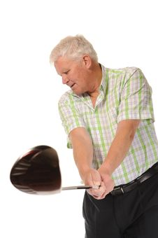 Free Happy Casual Mature Golfer Swinging A Club Stock Images - 14672064