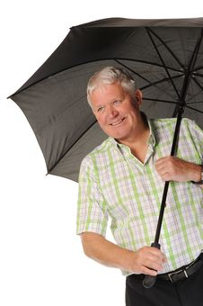 Free Happy Casual Mature Man With Umbrella Stock Photography - 14672152