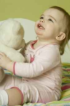 Free Baby Girl With Teddy Bear Royalty Free Stock Image - 14672636
