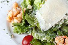 Salad  Caesar  With Shrimps Stock Photo