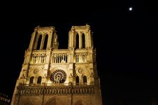 Night View  Of  Notre Dame De Paris Royalty Free Stock Image