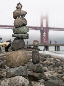 Stone Pile By The Golden Gate Royalty Free Stock Images