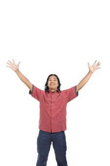 Free Long Hair Man Raise His Hands Stock Images - 14673834