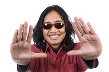 Long Hair Man Framing His Face Royalty Free Stock Photos