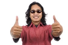 Free Long Hair Man With Sunglasses Give Thumb Royalty Free Stock Photography - 14673867