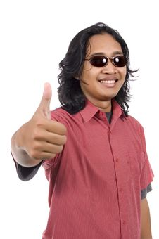 Free Long Hair Man With Sunglasses Give Thumb Stock Photos - 14673873