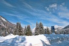 Snow On The Dolomites Mountains, Italy Stock Photo