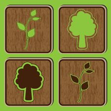 Free Wooden Buttons With Ecological Icons Of Leaves And Stock Photo - 14675530