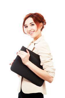 Girl With Folder Stock Photo