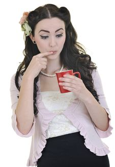 Beautiful Woman With Red Coup Of Coffee Isolated Royalty Free Stock Photos