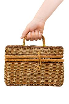 Free Wicker Basket Isolated Over White Stock Photography - 14676202