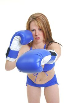 Free Female Kick Boxer Royalty Free Stock Photography - 14678107