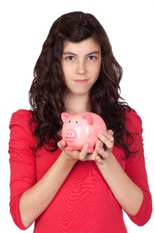 Free Teenager Girl With Pink Piggy-bank Royalty Free Stock Images - 14678279
