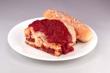 Lasagna And Bread Stock Image