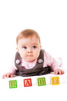 Baby Girl Posing With Blocks Stock Images