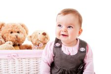 Toddler Sitting Next To Teddy Bears Royalty Free Stock Images