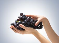 Free Image Of Tasty Grapes Held In Human Hands Royalty Free Stock Photography - 14679907