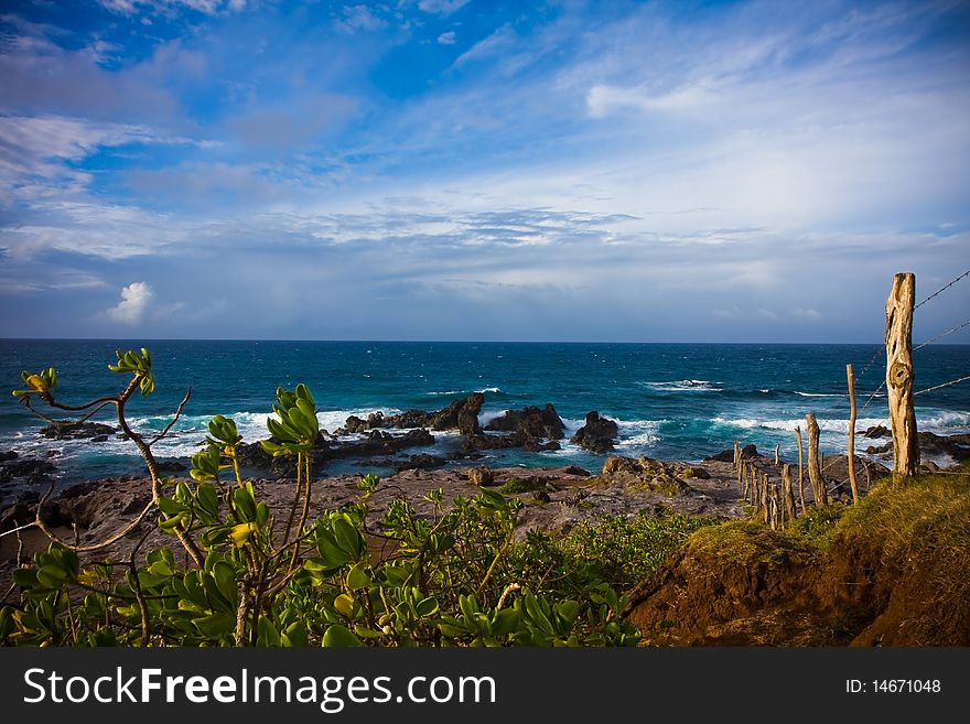 A rocky seashore