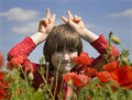 Free Little Girl In The Red Poppy Royalty Free Stock Photo - 14680155