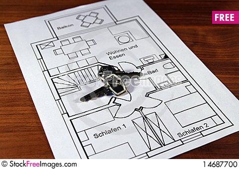 Free A Ground Plan With Keys Stock Photo - 14687700