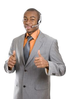 Free African American Customer Support Operator Royalty Free Stock Image - 14680186