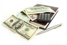 Free Money, Notebook, Pen And Calculator Royalty Free Stock Photo - 14680195