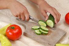 Preparing Vegetable Salad Royalty Free Stock Photo