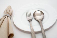 Free Napkin, Spoon And Fork Royalty Free Stock Photos - 14680318