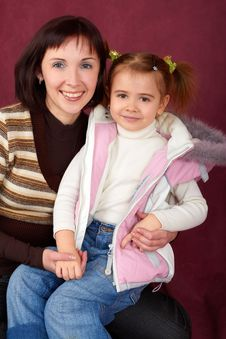 Happy Mother With Little Daughter Stock Images