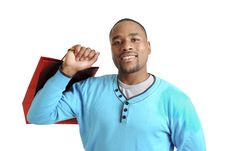 African American Man With Shopping Bag Royalty Free Stock Photography