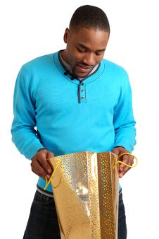 African American Man With Shopping Bag Royalty Free Stock Photo