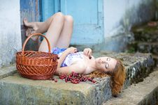 Free Red-haired Beauty In A Summer Sarafan Royalty Free Stock Photo - 14682865
