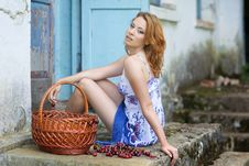 Free Red-haired Beauty In A Summer Sarafan Royalty Free Stock Images - 14682879