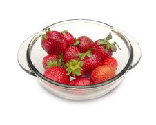 Strawberries In A Glass Dish. Stock Image