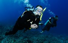 Man Scuba Diver Diving Underwater Stock Photos