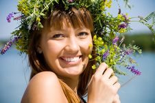 Free Pretty Girl With Floral Wreath Royalty Free Stock Images - 14683749