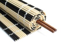 Free Rolled Bamboo Mat With Chopsticks Stock Photography - 14683802