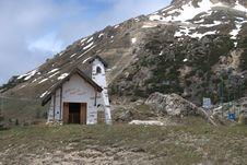 Church At Falzarego Mountain Pass Royalty Free Stock Photos
