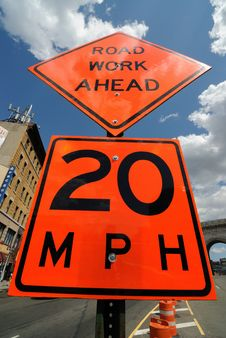Free Road Work Ahead Street Sign Stock Photography - 14685172