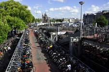 Free Bicycles Parking In Amsterdam Stock Photo - 14685210