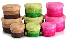Straw Baskets. Stock Photos