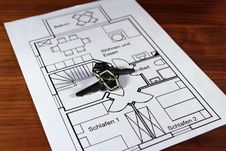 Free A Ground Plan With Keys Stock Photo - 14687700