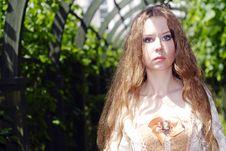 Girl Walk In Lane Royalty Free Stock Photos