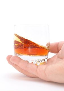 Free Glass Of Brandy Holding By Hand Stock Photography - 14688872