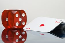 Free Red Dice And Card Deck Royalty Free Stock Photos - 14689308